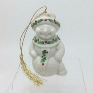 LENOX Ornament SNOWMAN 1998 HOLLY BERRY Annual NEW